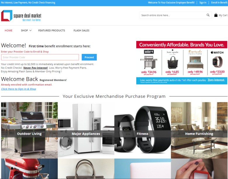 Screenshot of the Square Deal Market website
